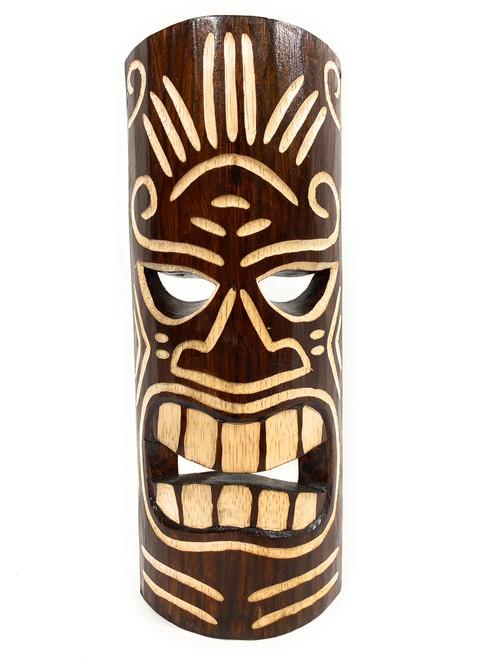 "Winner Tiki Mask 12"" - Tattoo Face Brown hand Carved | #bag1506330"