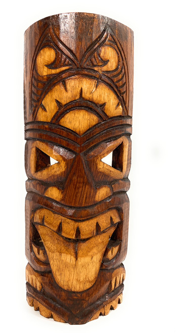 "Warrior Tiki Mask 12"" - Strength Tiki hand Carved 
