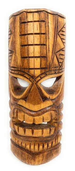 "Lucky Tiki Mask 12"" - Good Fortune Tiki hand Carved 
