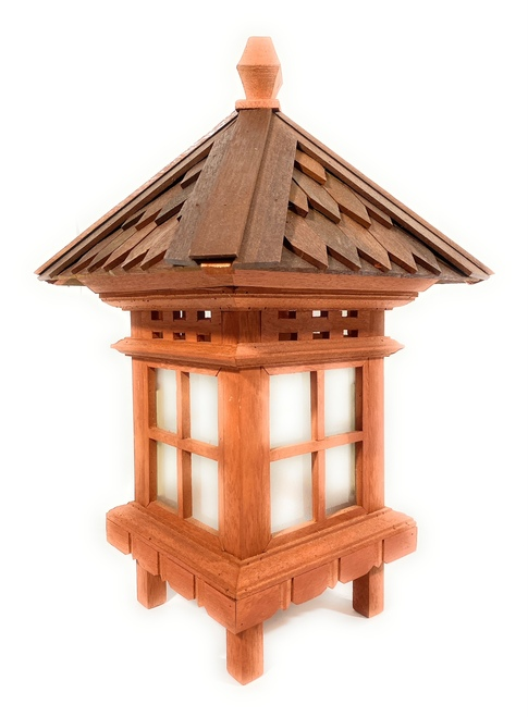 "Balinese Lantern 24"" w/ Shingle Roof & Glass Siding | #tks02"