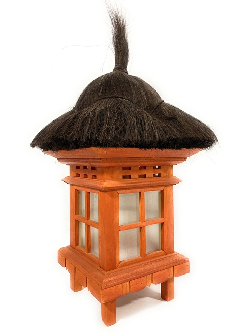 "Balinese Lantern 24"" w/ Coconut Husk Roof & Glass Siding | #tks01"