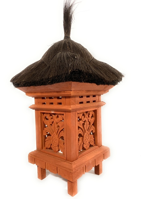"Balinese Lantern 24"" w/ Coconut Husk Roof & Carved Siding 