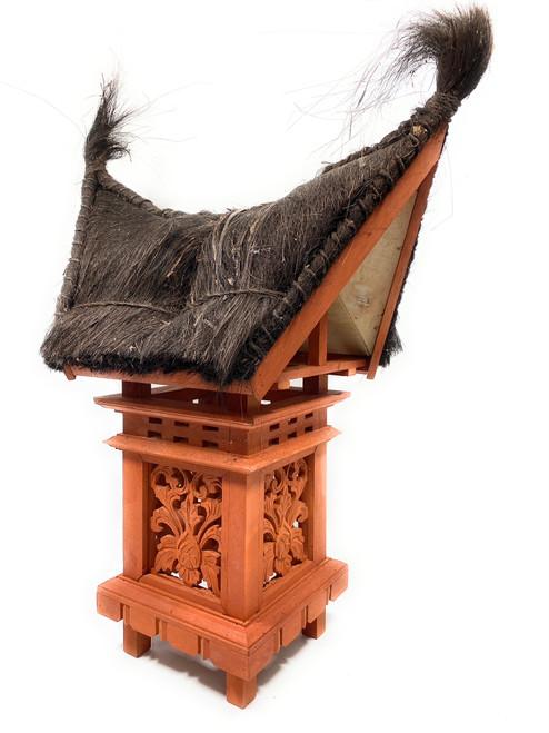 "Traditional Balinese Lantern 24"" w/ Coconut Husk Roof & Carved Siding | #tks05"