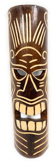 "Winner Tiki Mask 20"" - Tattoo Face Brown hand Carved | #bag1506350"