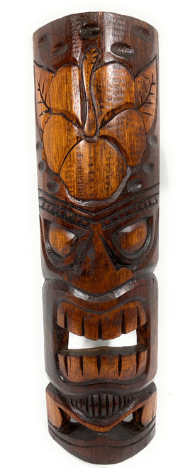 """Forever Love Tiki Mask 20"""" - Hibiscus Antique Finish hand Carved 
