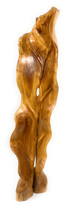 "Elegant Carved Leaf on Stand 33"" X 9"" X 3"" Teak Root - Centerpiece | #cin19h"