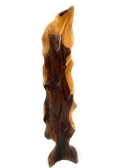 "Elegant Carved Leaf on Stand 28"" X 6"" X 3"" Black Walnut - Centerpiece | #cin19b"
