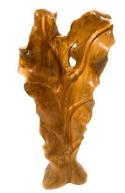 "Elegant Carved Leaf on Stand 26"" X 12"" X 5"" Teak Root - Centerpiece | #cin19g"