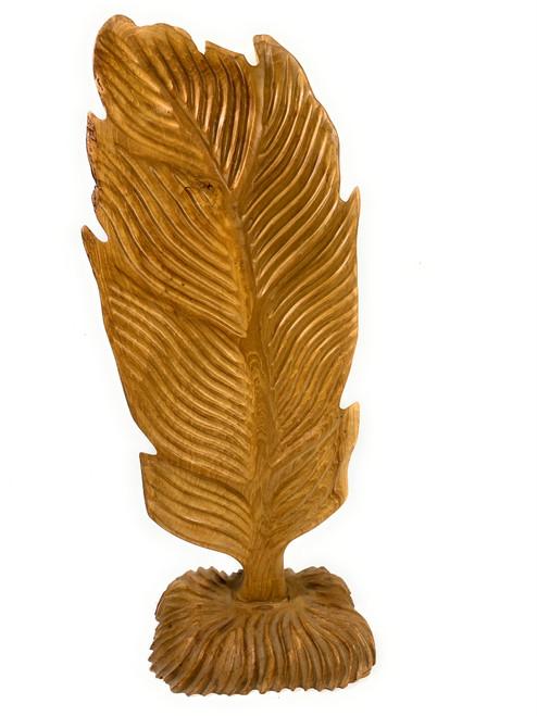 "Elegant Carved Leaf on Stand 28"" X 12"" X 8"" Teak Root - Centerpiece | #cin16"