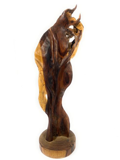"Elegant Carved Leaf on Stand 34"" X 11"" X 10"" Black Walnut - Centerpiece   #cin20"