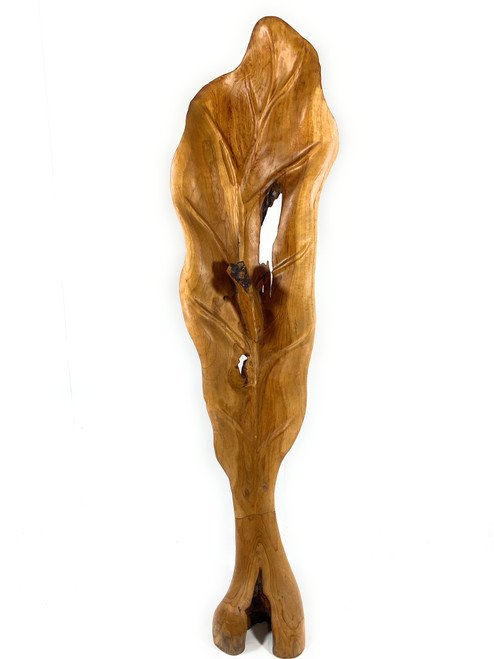 """Exquisite Carved Leaf on Stand 47"""" X 12"""" X 10"""" Teak Root - Centerpiece 