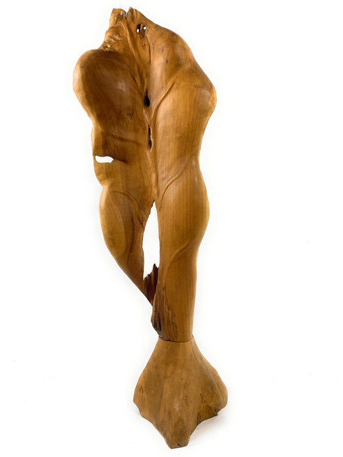 """Exquisite Carved Leaf on Stand 45"""" X 15"""" X 12"""" Teak Root - Centerpiece 
