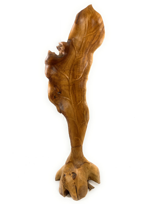 """Exquisite Carved Leaf on Stand 47"""" X 13"""" X 13"""" Teak Root - Centerpiece 