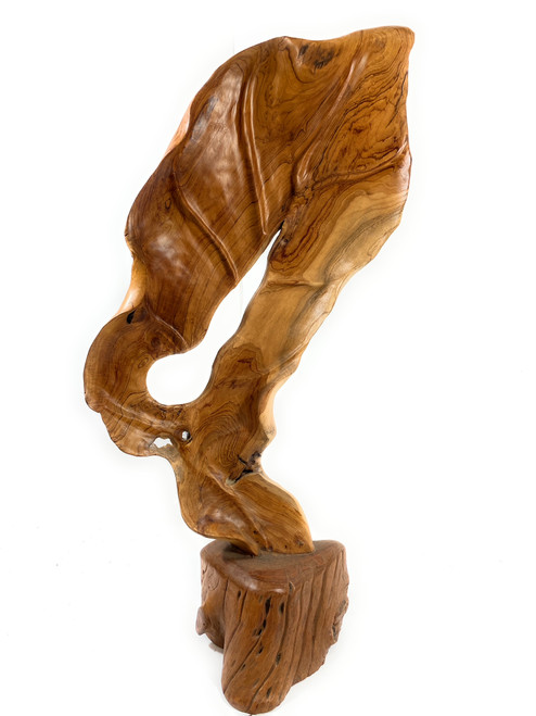 """Exquisite Carved Leaf on Stand 40"""" X 20"""" X 10"""" Teak Root - Centerpiece 