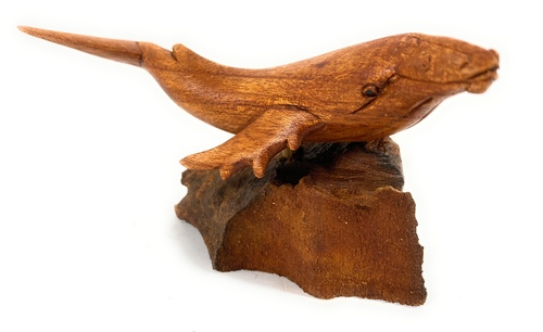 """Breaching Whale Carving 6"""" on Driftwood Base Hand Carved   #bgl03"""
