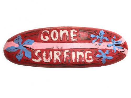 "Gone Surfing Rustic Sign 20"" - Surfing Wall Accents 