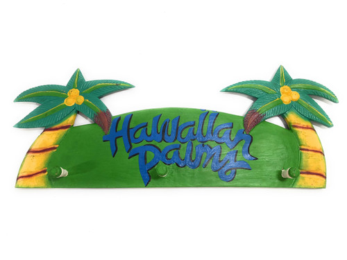 "Hawaiian Palms Hanger 20"" w/ 3 Pegs - Tropical decor 