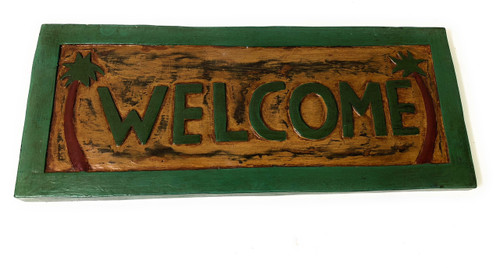 """Welcome Sign 16"""" w/ Palm Trees - Hand Carved/Painted 