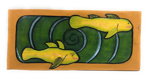 "Hawaiian Sea Bass, Koru Spiral 30"" X 15"" - Wall Art Wooden Panel 