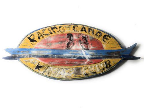 """Racing Canoe, Kayak Club"" Rustic Canoe Sign 20"" | #bds1209350"