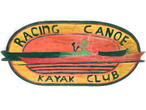 "Racing Canoe, Kayak Club Sign 30"" - Weathered Wall Hanging 