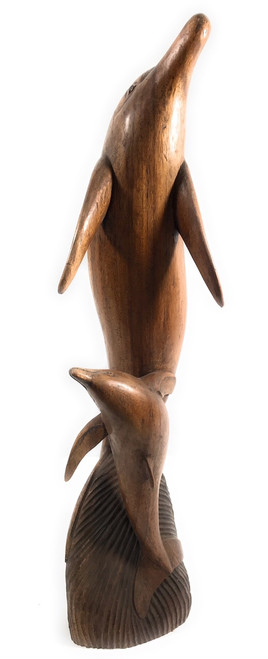 "Exquisite Dolphin & Calf 34"" - Hand Carved - Hawaiian Treasure 