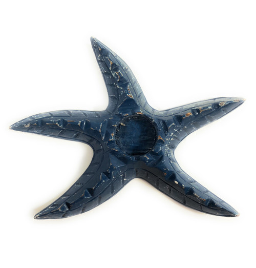 "Starfish Candle Holder 9"" - Rustic Coastal Blue | #ata1801122b"