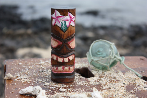 """Tiki Totem 5"""" w/ Flowers - Hand Carved & Painted 