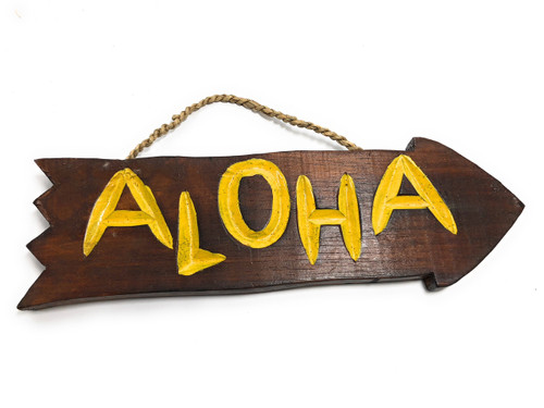 "Aloha Arrow Driftwood Sign 12"" - Tropical Decor 