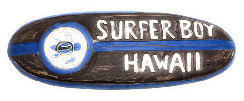 "Surfer Boy, Hawaii Rustic Surf Sign 20"" - Surfing Accents 