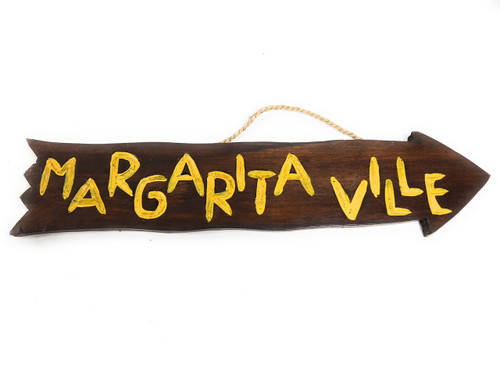 "Margaritaville Arrow Driftwood Sign 20"" - Tropical Decor 