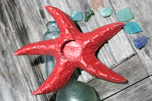 "Starfish Candle Holder 9"" - Rustic Coastal Red 