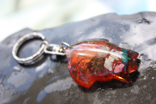 Aloha Shirt Keychain w/ Inlay Sea Life - Orange