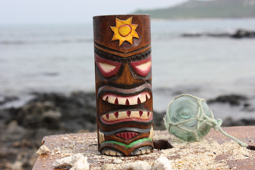 """Tiki Totem 5"""" w/ Sunny Hawaii - Hand Carved & Painted 
