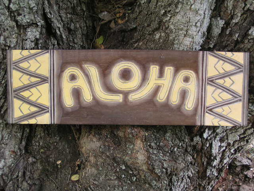 "Aloha Sign w/ Tribal Design 24"" - Hand Carved/Painted 