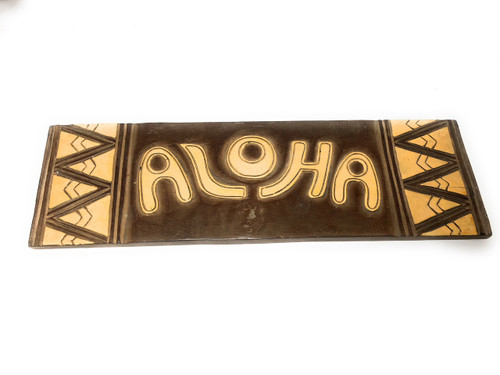 """Aloha Sign w/ Tribal Design 24"""" - Hand Carved/Painted 