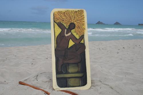 "The Hawaiian Warrior, God Of The Sun 30"" X 15"" - Primitive Art Wood Panel | #dpt519375"