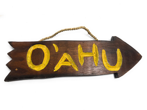 "Oahu Arrow Driftwood Sign 12"" - Tropical Decor 