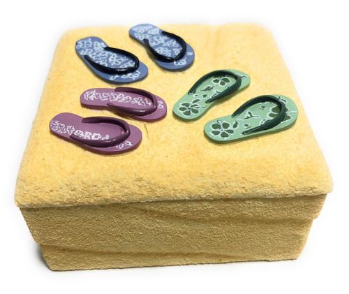 Slippers On the Beach Jewelry Keepsake Box - Hand Painted | #ih12734
