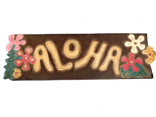 "Rustic ALOHA Sign w/ Plumeria Flowers 24"" - Hand Carved 