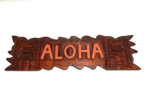 "Aloha Sign 24"" w/ Love & Prosperity Tikis - Tiki Bar Decor 