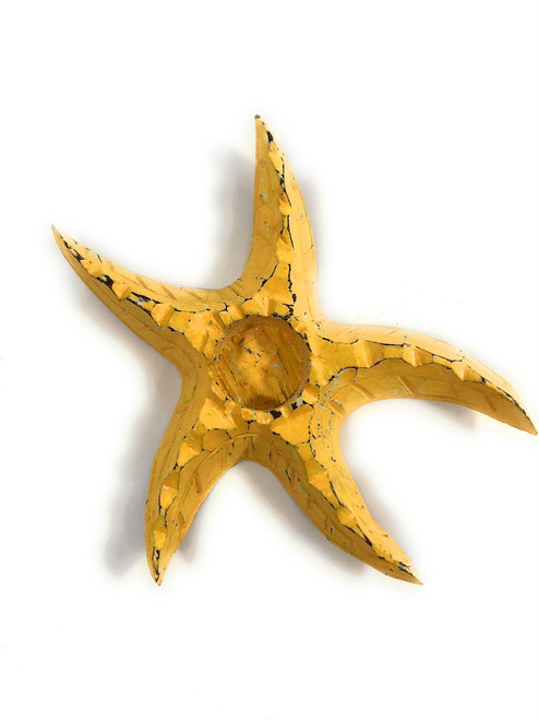 "Starfish Candle Holder 9"" - Rustic Coastal Yellow 
