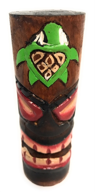 "Tiki Totem 5"" w/ Honu Hawaii - Hand Carved & Painted 