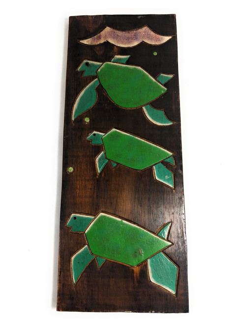 "Hawaiian Turtles (Honu) Relief 20"" X 8"" - Wall Art Wood Panel 