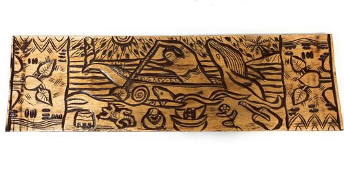"Canoe Paddler Hawaiian Scene Wood Panel 40"" X 12"" King Kamehameha - Polynesian Wall Art   #dpt5028100"