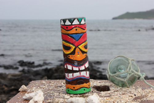 """Tiki Totem 5"""" w/ Tribal Hawaii - Hand Carved & Painted 