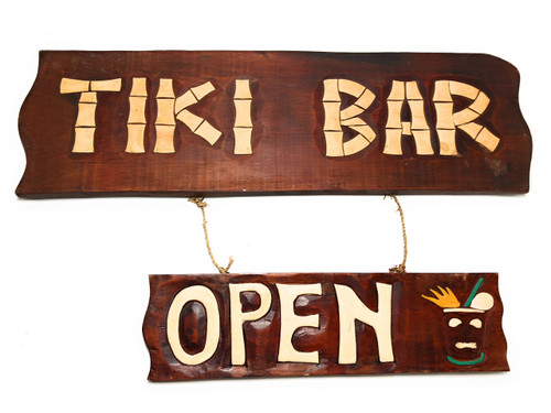 "Tiki Bar, Open Sign 24"" - Tiki Bar Decor Accents 