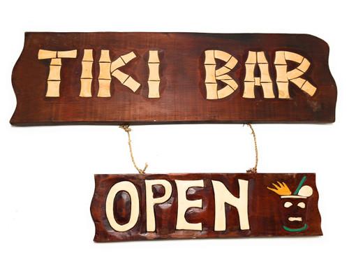 "Tiki Bar, Open Sign 24"" - Tiki Bar Decor Accents | #bds12037"