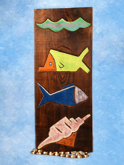 "Fish & Seashell Relief 12"" X 5"" - Wall Art Wood Panel 