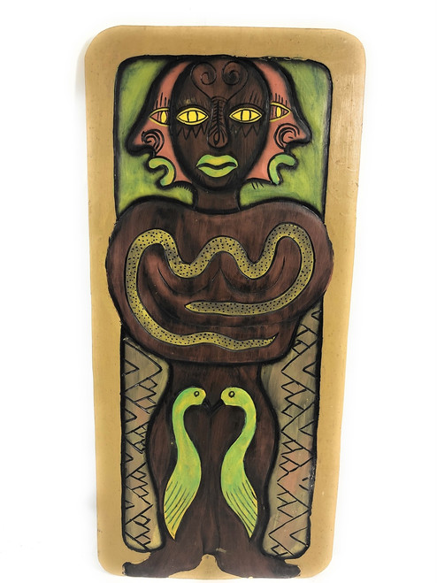 "The Hawaiian Chief, Animal Spirit 30"" X 15"" - Primitive Art Wood Panel 